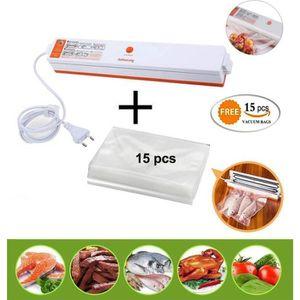 220V Automatique Machine dEmballage Sous Vide Alimentaire Emballeuse Sous Vide avec Sacs Sous Vide pour rangement et emballage Vacuum Sealer Machine