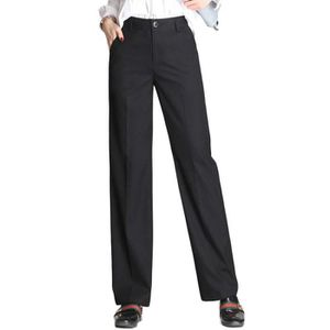 Pantalon femme taille haute coupe droite