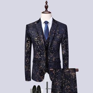 Smoking-Costume-Mariage-scène Veste de Sport-Party Slim Fit Hommes Costume en bleu avec gilet