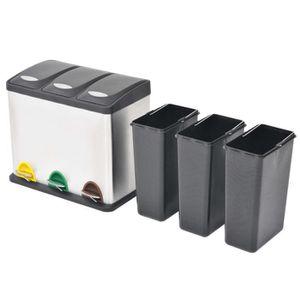 POUBELLE - CORBEILLE Poubelle à ordures Acier inoxydable 3 x 8 L