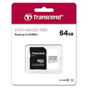 CARTE MÉMOIRE TRANSCEND Carte Micro SDXC 64Go avec adaptateur
