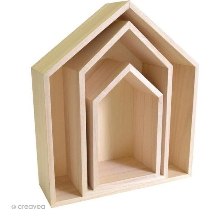 Ensemble de 3 étagères maison en bois