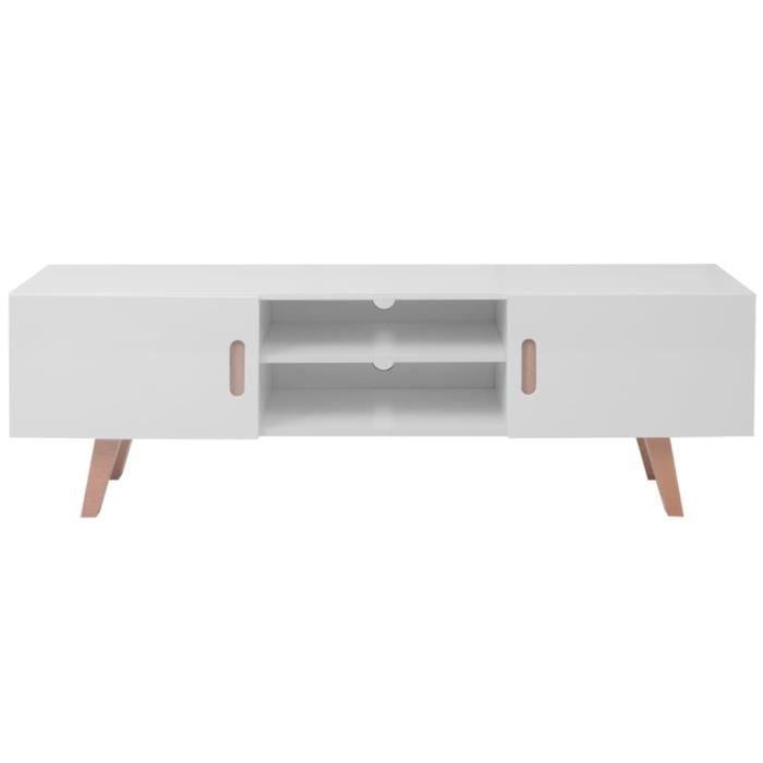 ZHI Meuble TV avec 2 armoires et 2 compartiments MDF 150x35x48,5 cm Blanc brillant