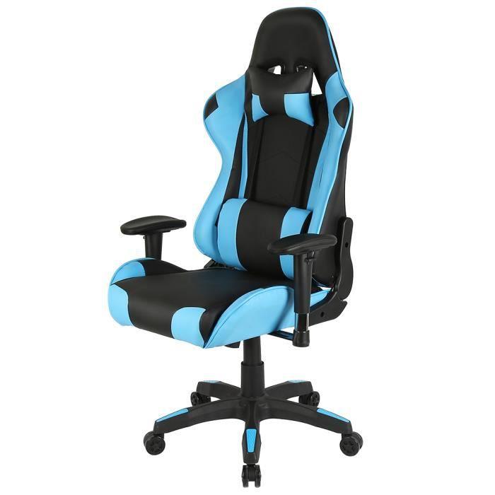 WISS Nova Bureau-Chaise Gaming, avec Mécanisme basculant,Appui-tête, Coussin de taille Noir-Bleu