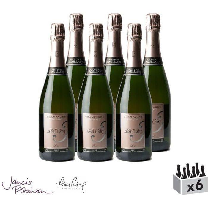Champagne grand cru Brut Rosé - Champagne Nicolas Maillart - Lot de 6x75cl - 16-20 Jancis Robinson - Cépages Chardonnay, Pinot Noir