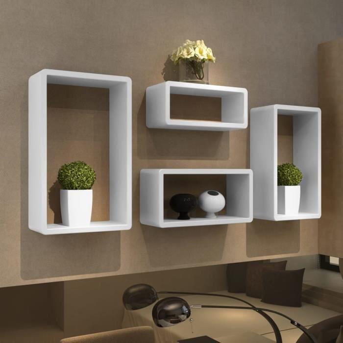 SUPER*8515 MEUBLE MURALE Etagères Design Murale 4 Cubes blanc Rangement pour chambre salon