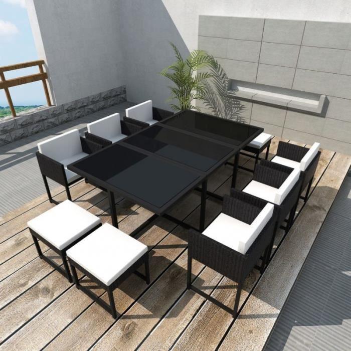 Salon de jardin 10 pers. en rotin synthétique noir et coussins crème - CS427601