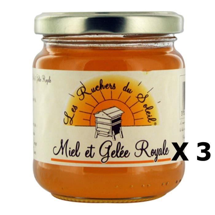 Lot 3x Miel et gelée royale - Les Ruchers du Soleil - pot 250g