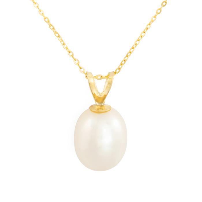 Pendentif perle de culture couleur nacrée blanc en or jaune 9kt (375-1000).Chaine argent (925) cadeau couleur jaune