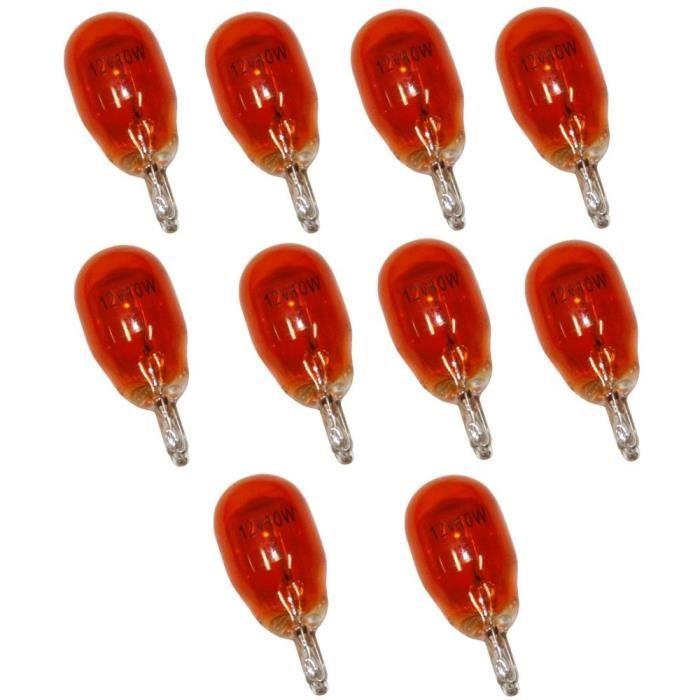 10 Ampoules WY10W T13 12V 10W Ambré Orange W2.1x9.