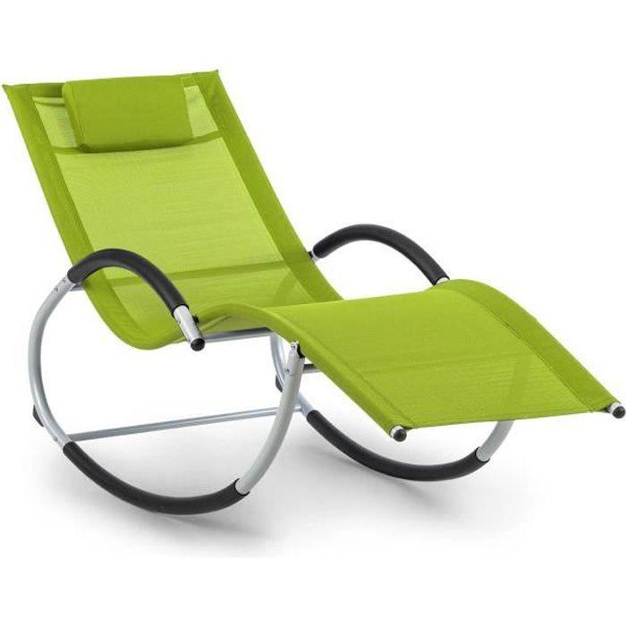 Blumfeldt Westwood Rocking Chair Fauteuil à bascule avec coussin doux amovible - cadre aluminium vert