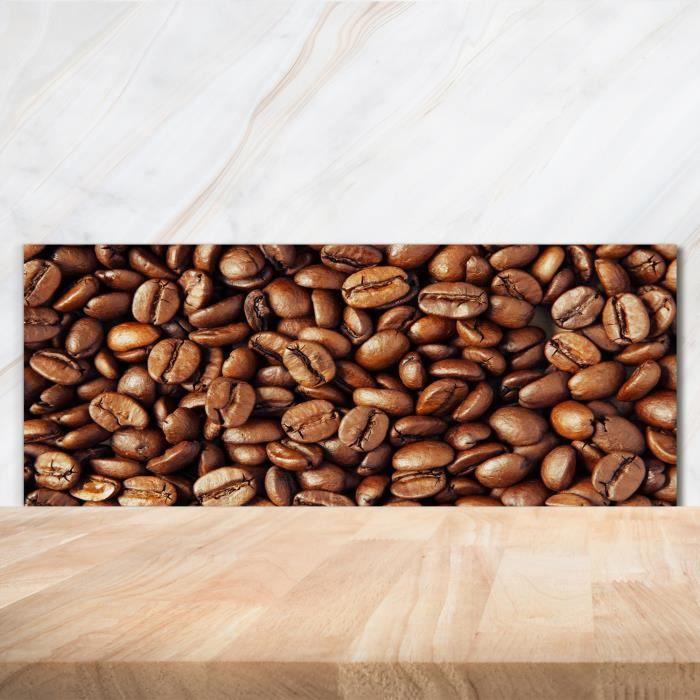 Tulup 125x50cm Crédence de cuisine sur verre sécurité:- Nourriture boissons - Grains De Café - Brun Vert Mixte