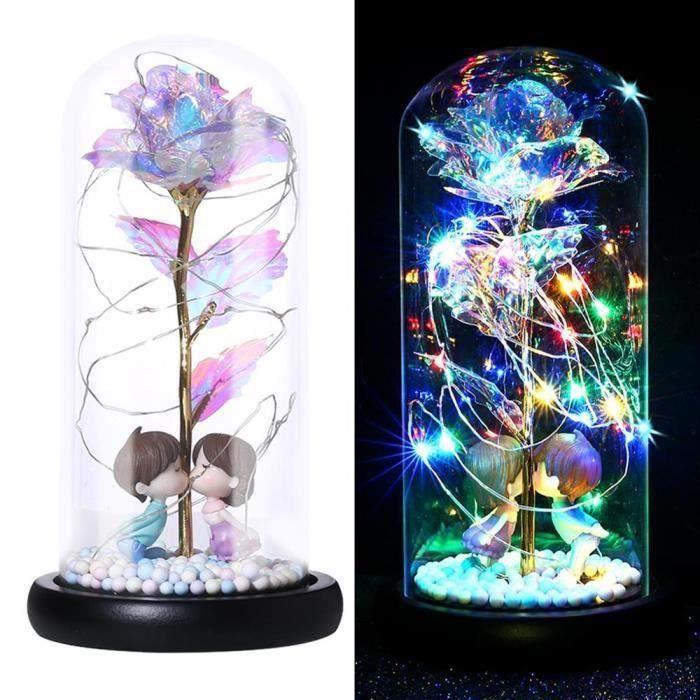Lampe Rose à dôme de verre 40JP14 - Lampe pour noël, saint valentin, fête des mères, cadeau romantique - Modèle: 01 - HYPDXCB04872