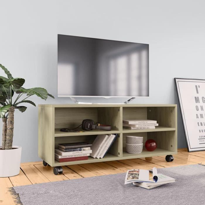 Meuble TV avec roulettes Chêne sonoma 90x35x35 cm Aggloméré