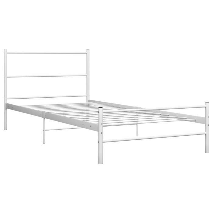 Jardin - Lit adulte Structure de lit Classique - Lit enfant Lit pour 1-2 personnes Blanc Métal 90 x 200 cm Style ancien 53225