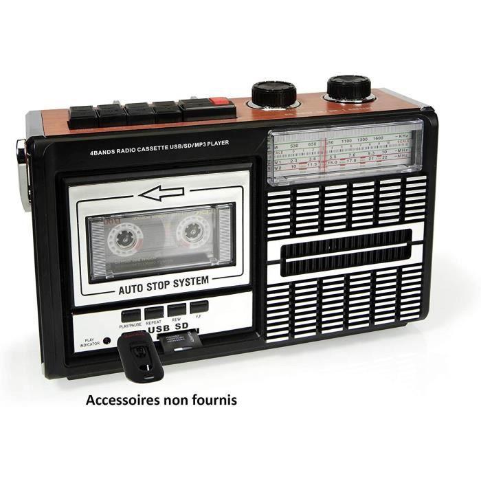 Ricatech PR85 – Lecteur de cassettes et enregistreur des années 80, Radio AM/FM/SW, USB, Port de carte SD, Microphone intégré, Arrêt