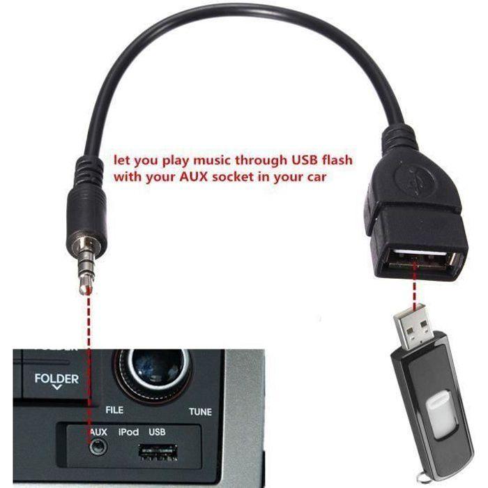 Adaptateur prise jack audio 3.5 mm à USB femelle