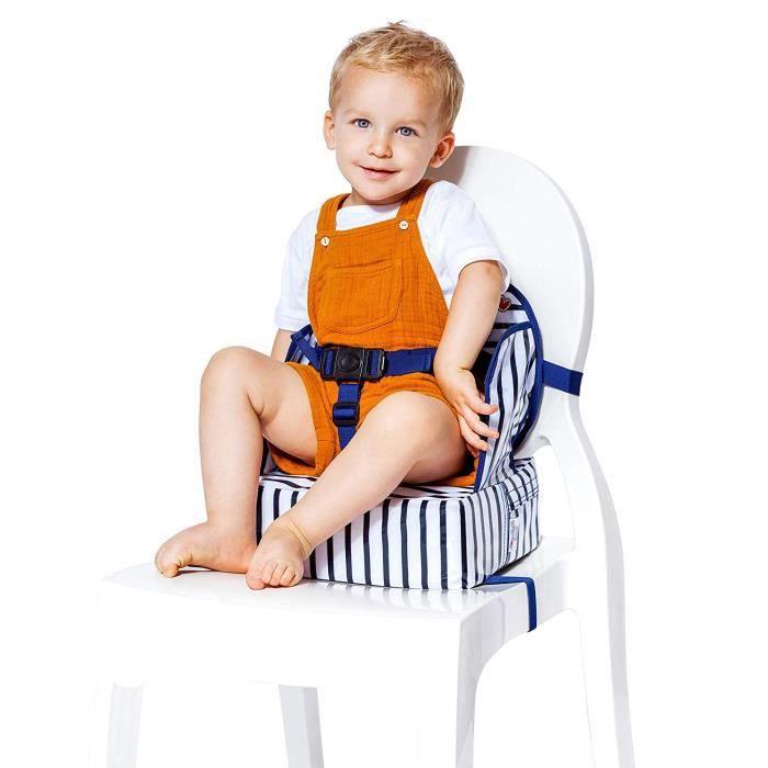 Baby-To-Love Easy Up, Chaise Haute Pour Bébé, Rehausseur Chaise Enfant, Rehausseur Nomade Bébé (Blue Stripes)