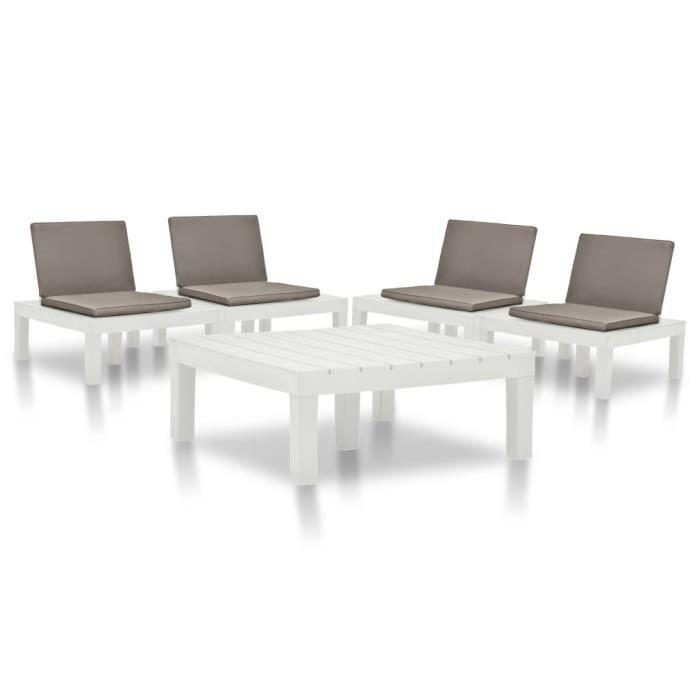 #56708 Ensemble repas de jardin Professionnel - Ensemble Table et Chaise de Jardin 5 pcs Plastique Blanc Parfait