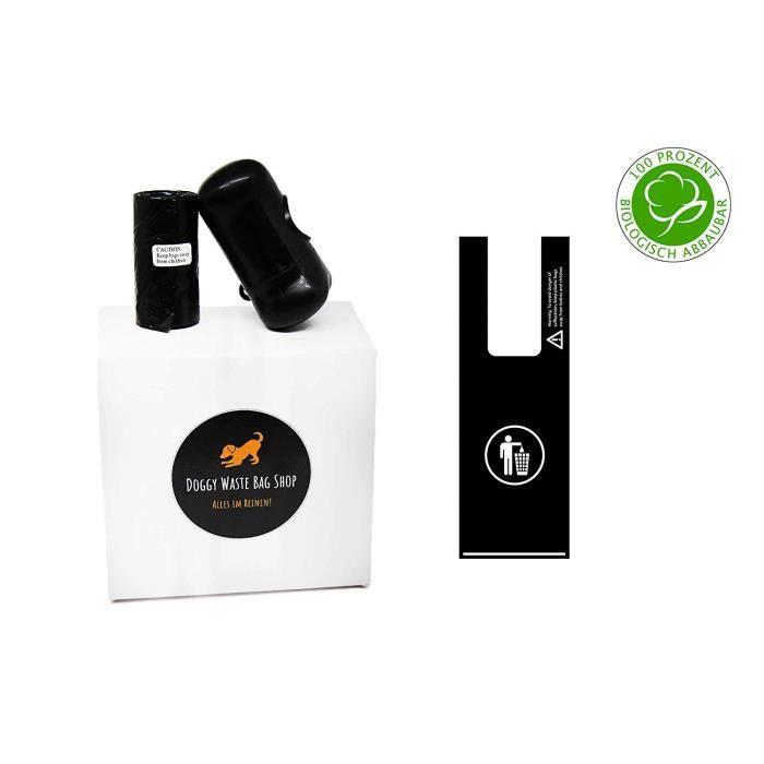 Bicko GmbH Sacs à déjections canines avec anse compatible avec distributeur de sacs ramasse-crottes, biodégradable, opaque, odeur