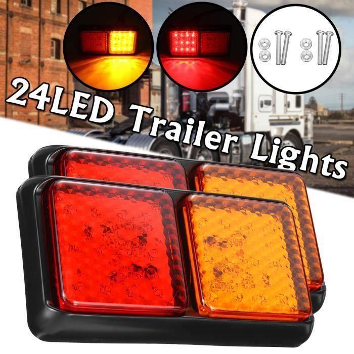 Feux Remorque 24 LED 10-30V Imperméable Voyants d'arrêt de frein Wir54
