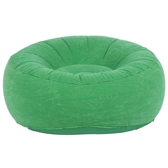 Drfeify canapé gonflable Chaise de canapé simple floquée gonflable pliable extérieure pour le jardin de balcon de salon (vert
