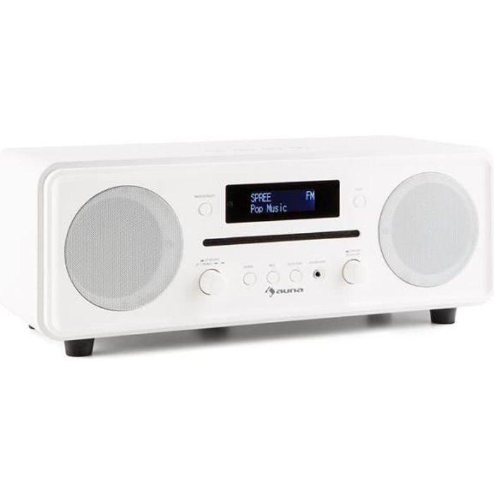 auna Melodia - Radio numérique Bluetooth avec lecteur CD et tuner DAB+-FM (entrée AUX, sortie casque, réveil) - blanc