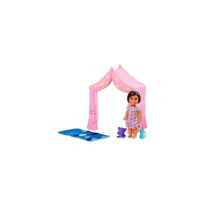 Coffret de Jeu Tente rose et mini poupee enfant Fille - Accessoires pour Barbie - Jouet Skipper Babysitter