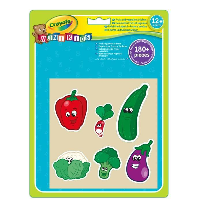 Crayola - Mini Kids - Gommettes fruits et légumes - Coloriage pour enfant et tout petit