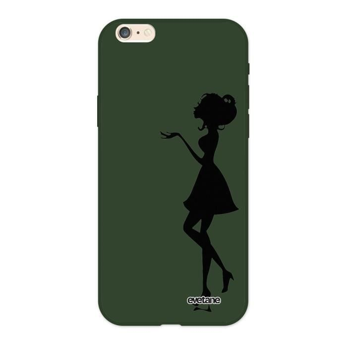 Coque iPhone 6/6S Silicone Liquide Douce vert kaki Silhouette Femme Ecriture Tendance et Design Evetane.