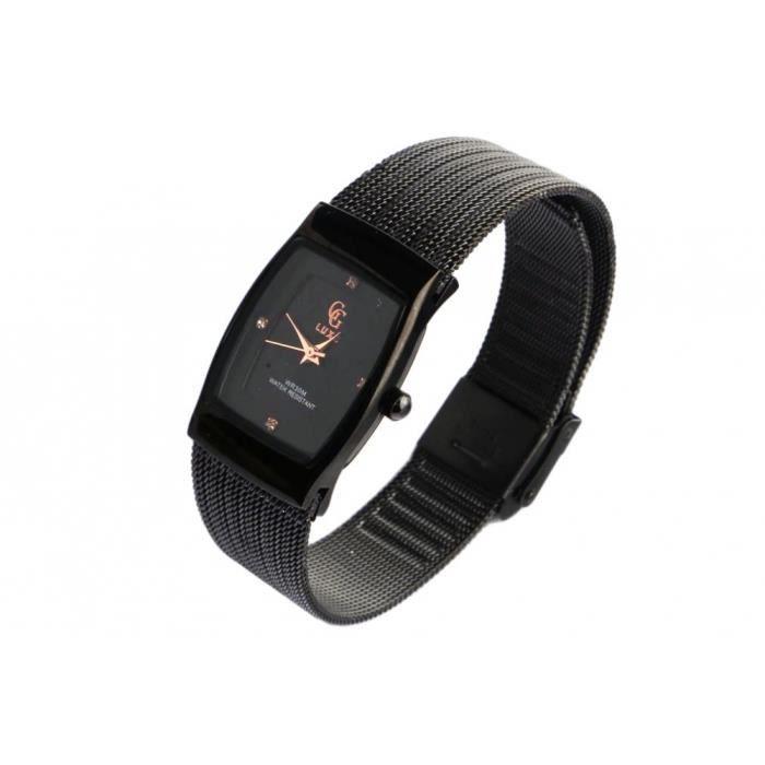 Fin Bracelet Montre Femme noir maille milanaise Subty GG Luxe - Noir - Taille unique