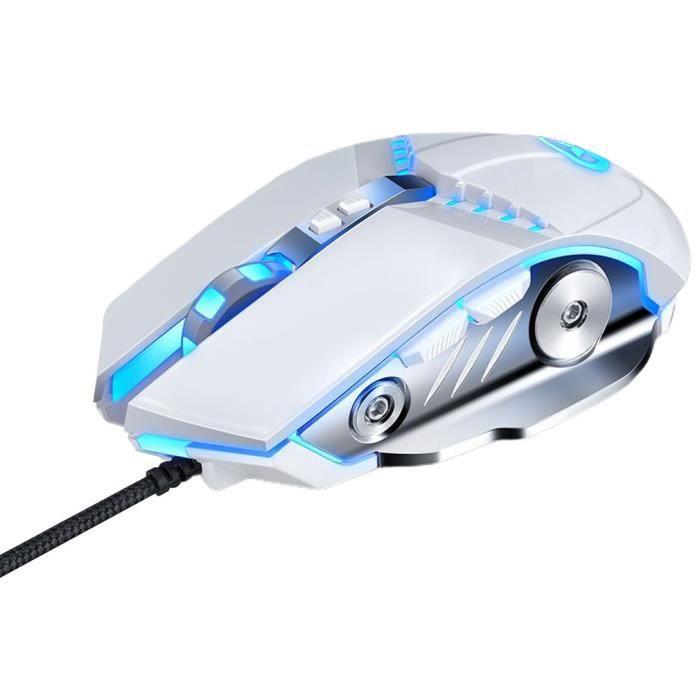 Bureau d'ordinateur portable photoélectrique de la tempête magique GM20 de souris filaire de jeu mécanique, blanc
