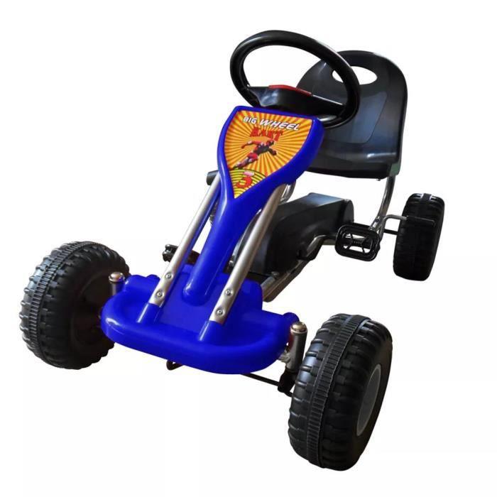 Karting Go-Kart à Pédales avec Siège + Volant réglables Bleu