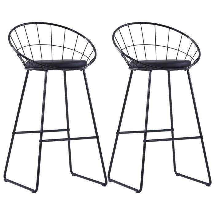 Lot de 2 Tabourets de Bar Chaises de bar avec sièges en similicuir 2 pcs Noir Acier