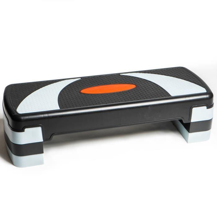 PRISP Stepper Fitness à Hauteur Réglable (3 Niveaux, 10/15/20 cm) Planche de Step Aérobic pour Cardio 78 x 28 cm - Gris et Noir