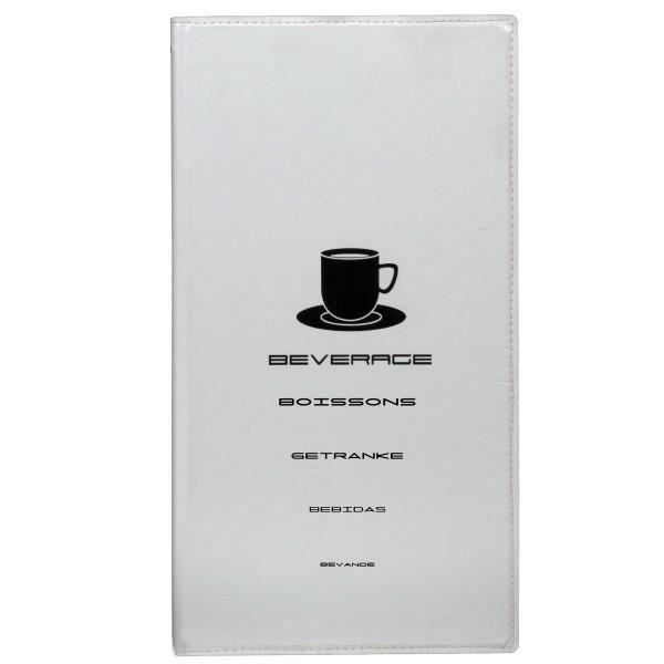 Carte des boissons - format 15.5 x 30 cm , blanc