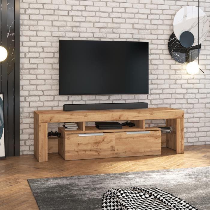 Meuble TV - VERGON - chêne lancaster - sans LED