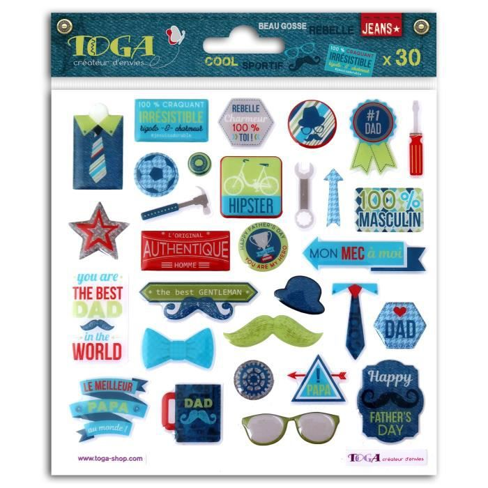 TOGA 30 Stickers Epoxy 100% Masculin