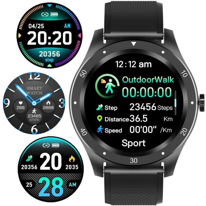 Montre Connectée Bracelet Connecté Smart Watch Femme Homme Enfant 1,3- Écran Tactile Moniteur de Fréquence Sport Sommeil Calorie Car