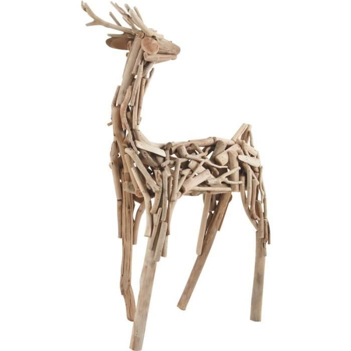 sculpture cerf en bois flott achat vente statue. Black Bedroom Furniture Sets. Home Design Ideas