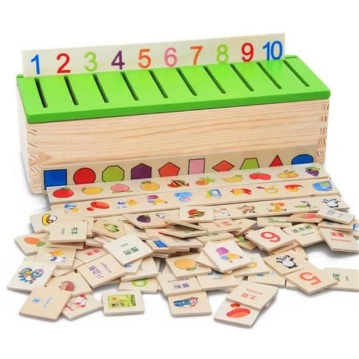 JEU D'APPRENTISSAGE  Montessori Éducation Jeu en Bois Reconnaissance J