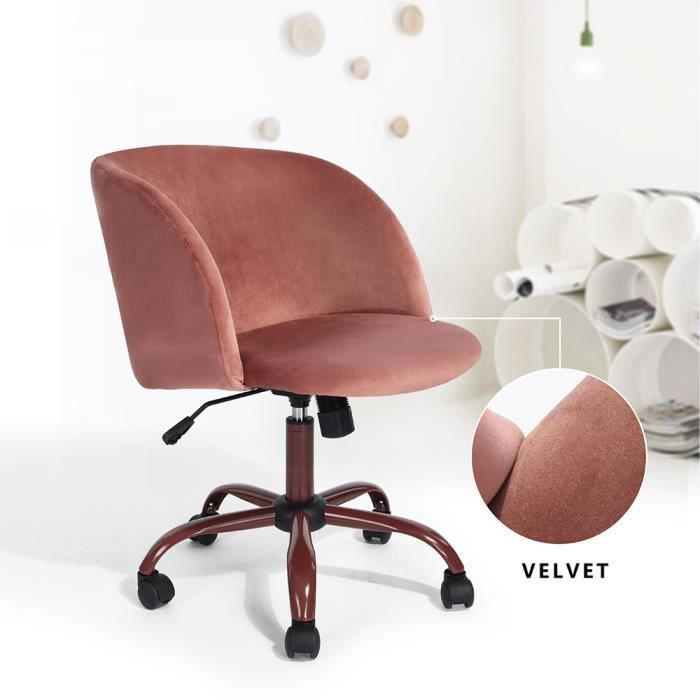 fauteuil de bureau scandinave rose fauteuil roulettes moderne chaise de bureau chic en velours. Black Bedroom Furniture Sets. Home Design Ideas