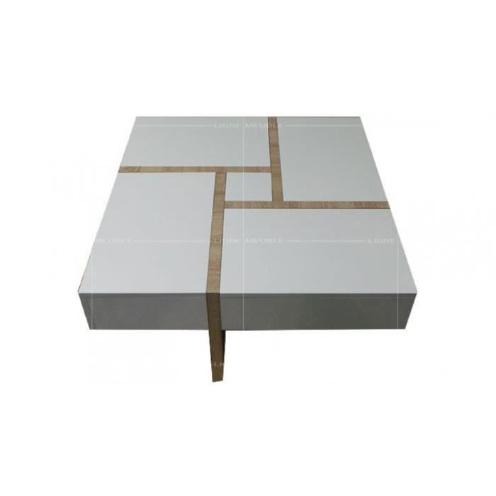 Tba114bp table basse laque blanc et taupe multi tiroir - Table basse taupe laque ...