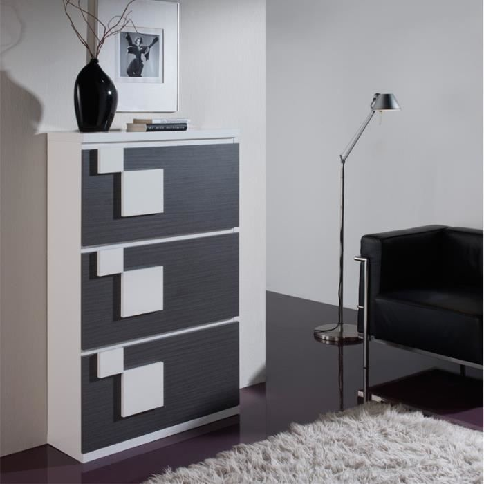 meuble chaussures cendre blanc squadra n 2 l 74 x l 26 x h 128 cm achat vente meuble. Black Bedroom Furniture Sets. Home Design Ideas
