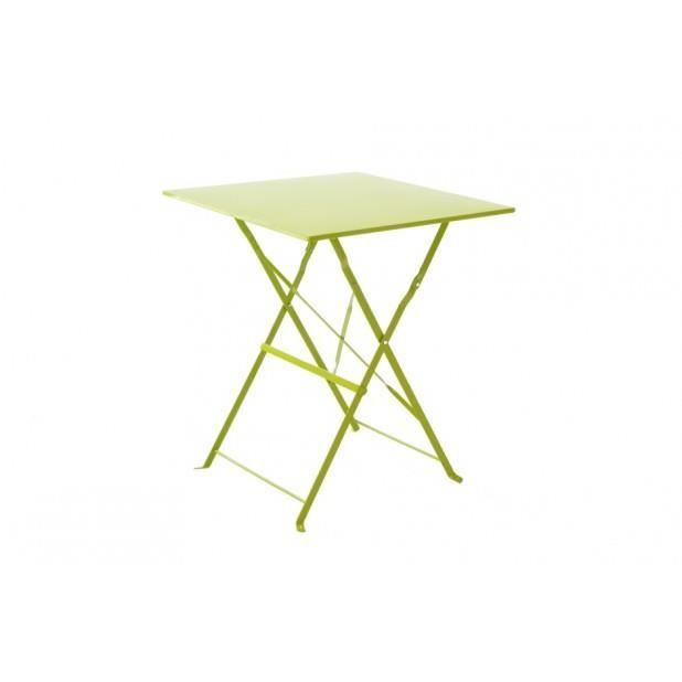 Magnifique table bistrot carr e vert anis achat - Table bistrot carree ...