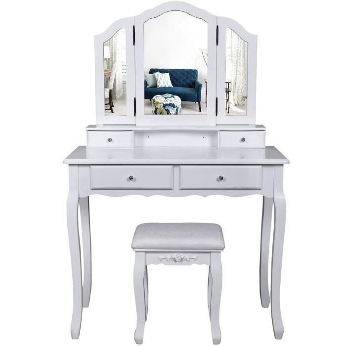 tiroir Table de Maquillage dim Homcom Coiffeuse Enfant Bois de pin Miroir 60L x 34l x 93H cm MDF Rose Blanc Tabouret Inclus /étag/ères