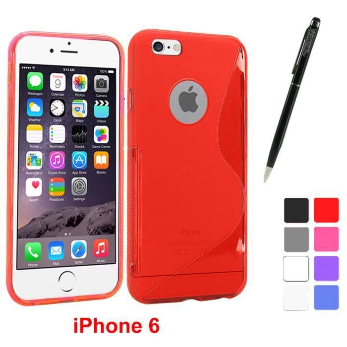housse etui coque silicone apple iphone 6 rouge