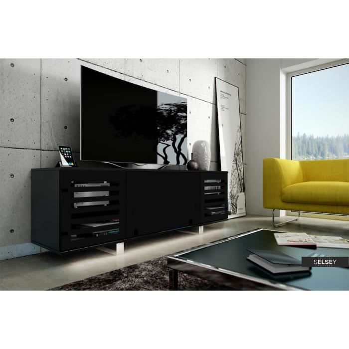 meuble tv vero ii noir mat noir brillant sans led achat vente meuble tv meuble tv vero ii. Black Bedroom Furniture Sets. Home Design Ideas