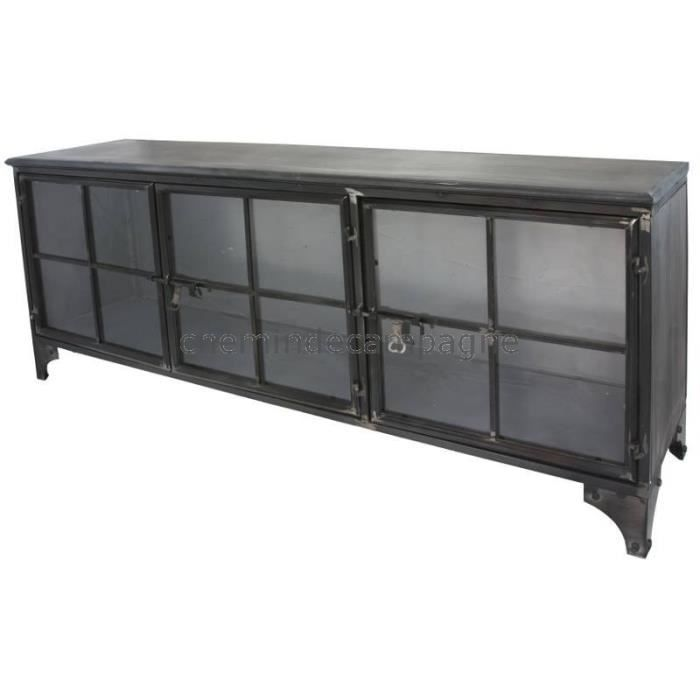 enfilade bahut buffet meuble tele tv meuble industriel fer metal verre 152 cm gris achat. Black Bedroom Furniture Sets. Home Design Ideas