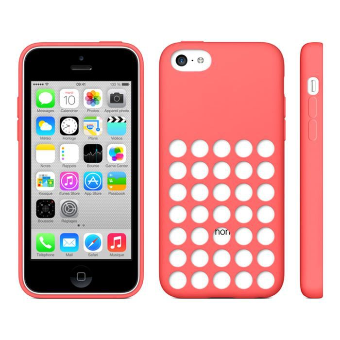 coque silicone rouge perforee pour iphone 5c